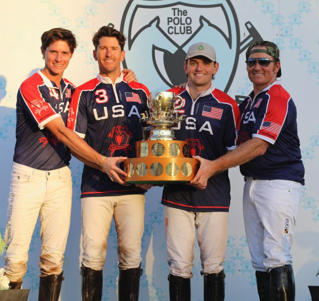 Winning GCPC-USA teammates Juancito Bollini, Nic Roldan, Grant Ganzi, and Marc Ganzi hoist the International Cup trophy
